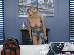Blonde, Big tits kitchen blonde