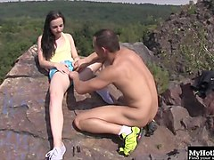 Black, Teen, Creampie, Creampie quickie outdoors