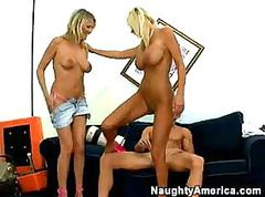 Blonde, Threesome, Mother knows breast