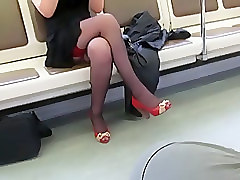 Black, Stockings, Train, Japanese fuck by geek in train