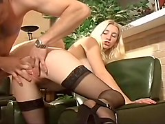 Blonde, Stockings, Sexy women masturbating with panties on