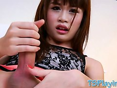 Ladyboy, Masturbation, Jerking, 2 chinese ladyboys fuck weak guy