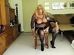 Crossdresser, Stockings, Dress, Shemal in latex