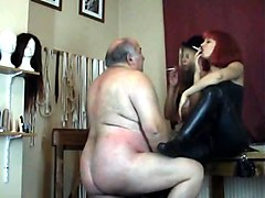 Humiliation, Old Man, Fat, Rubber doll clinic latex