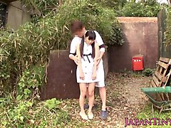 Babe, Japanese swingers fuck outdoors at hot spring