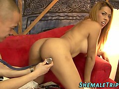 Shemale, Hot shemale licks guys ass