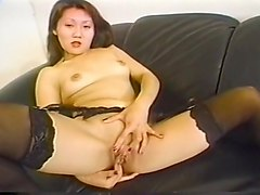 Asian, Black, Dildo, Big titted asian solo