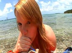 Blonde, Short Hair, Beach, Sucking cock at school
