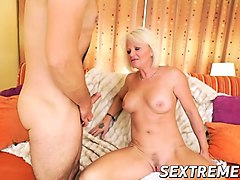 Anal, Blonde, Granny monica analed and cummed