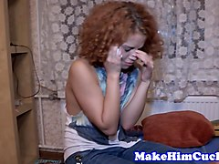 Cuckold, Redhead, Daughter gets fucked in front of her mommy
