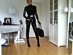 Leather, Watch tv sexy lady