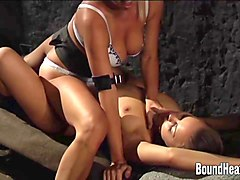 Bus, Kissing, Slave, Cruel mistress whipping and fuck