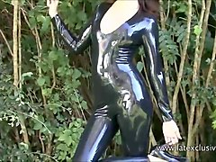 Fetish, Rubber, Babe, Blonde in latex rubber spandex masturbating