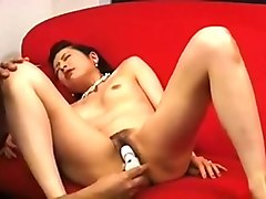 Asian, Skinny granny 55 masturbating and smoking