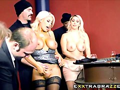 Blonde, Husband, Wife, Wife catches husband with tv and joins in
