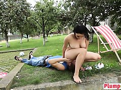 Chubby, Babe, Drunk chubby busty mom drunk sex outdoors