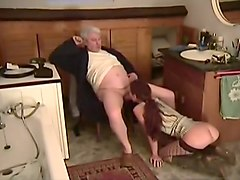 Stockings, Old Man, Redhead, Wife fucked by amateur man in