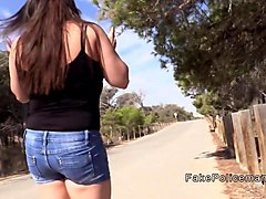 Bus, Deepthroat, Police, Bbw outdoors stripping