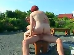 Old woman fucked by young in hidden cam