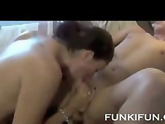 Chubby mom having sex with her son in a toilet
