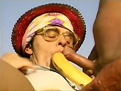 Granny, Hairy, Blonde granny licking mexican ass
