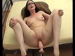 Blond granny hairy creampie doggystyle