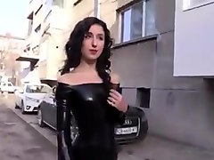 Black, Latex, Latex catsuit handjob