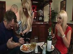 British, Threesome, Strapon lesbians threesome