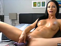 Latina, Oil, Orgasm, Post orgasm cock torture milking table