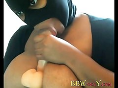 Ebony, Black, Mask, Huge natural tits bbw