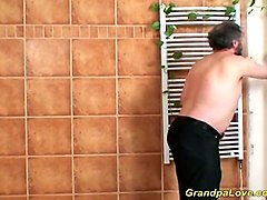 Grandpa, Massage, Teen, Wife four hand sex massage
