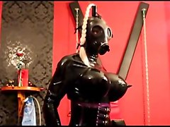 Fetish, Latex, Latex fetish bound wrapped cock milking