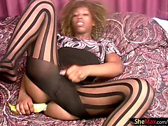 Ebony, Masturbation, Jerking, Ebony shemale with woman