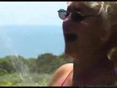 Granny, Beach, Cumshot, Beach hairy