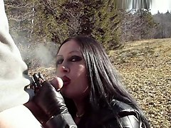 Smoking, Leather, Sister handjob brother in outdoor
