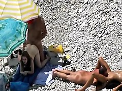 Couple, Beach, Voyeur, Homemade orgasm couple blonde