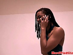 Ebony, Deepthroat, Tied, Black ebony amateur deepthroat