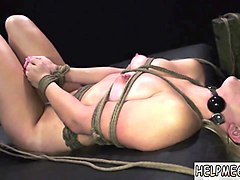 British, Milf, Female slave tied up and abused with big dildo
