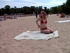 Public, Beach, Threesome, Beach masturbation