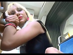 Blonde, Train, Outdoor handjob contest