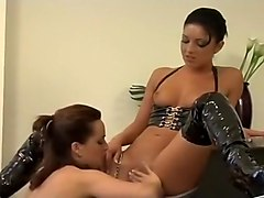 Strapon, Lesbian threesome with strapon anal sex