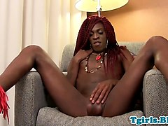 Ebony, Masturbation, Jerking, Shemale facial hersel f