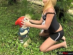 Blonde, Ass, Shemale, Girl stripping outdoors