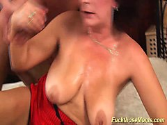 Bus, Hairy, Facial, Son fucks hairy mom in shower
