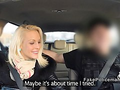 Blonde, Police, Big Cock, Milf sucking cock in a muscle car