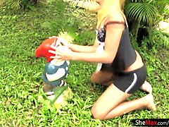 Blonde, Ass, Shemale, Wife stripping outdoors
