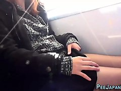 Asian, Train, Japanese lesbian in train grope