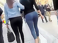 Jeans, Panties, Ass, Jiggly big ass in tight blue jeans
