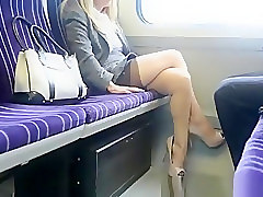 Blonde, Train, Japanese office lady groped in train