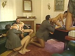 Blonde, Group, Interracial, Sqeezing nipples while having group sex